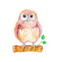 Watercolor cartoon owl sitting on the branch vector