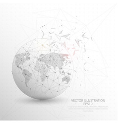 World map globe digitally drawn low poly triangle vector