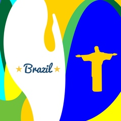 abstract brazil and statue design over colored vector image