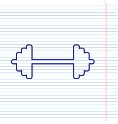 dumbbell weights sign navy line icon on vector image vector image