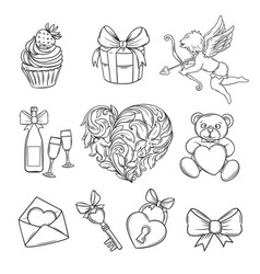hand drawn valentines day icons vector image