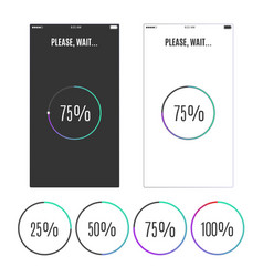 phone screen with loading percentage marks icons vector image vector image