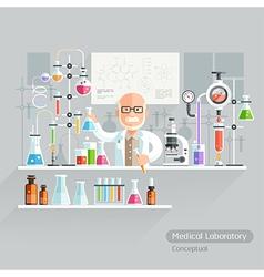 Professor Working on Medical Laboratory vector image vector image