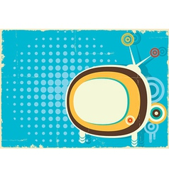 Retro television vintage poster on old paper vector image vector image