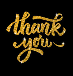 thank you hand drawn lettering in golden style vector image