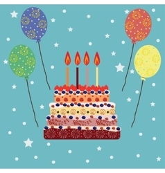 Birthday cake with four candles Four years vector image