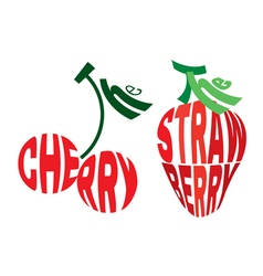 emblem element in form of cherry and strawberry vector image