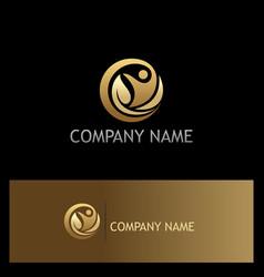 round eco leaf happy man gold logo vector image vector image