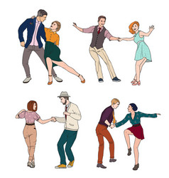 set of a young couple dancing lindy hop vector image vector image