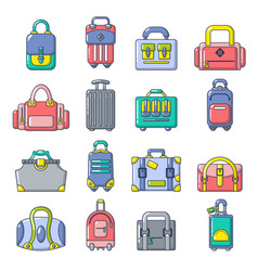 bag baggage suitcase icons set cartoon style vector image vector image