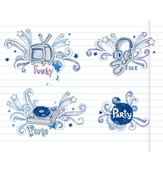 Page of music doodles vector image