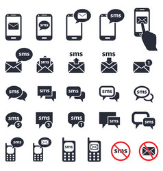 sms icons set vector image