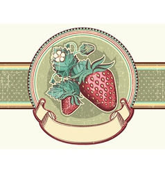 Vintage label with red strawberries for text vector