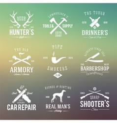 Vintage labels with retro typography for mens vector