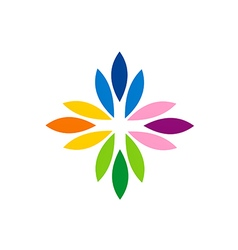 abstract colorful flower rainbow logo vector image