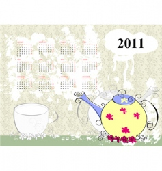 calendar for 2011 with teapot vector image vector image
