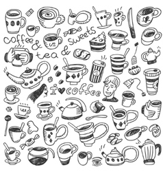coffee cups - doodles set vector image vector image