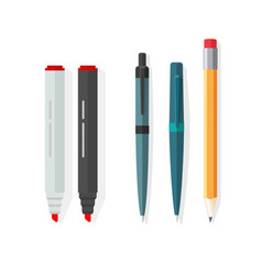 pens pencils markers dot biro pen with vector image