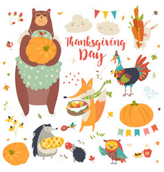 thanksgiving set with cute forest animals vector image vector image