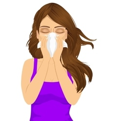 young sick woman ill suffering allergy vector image vector image