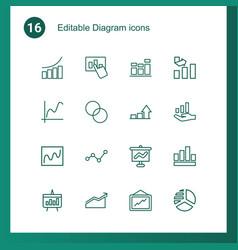16 diagram icons vector image