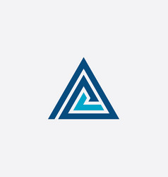 abstract triangle business blue icon logo vector image