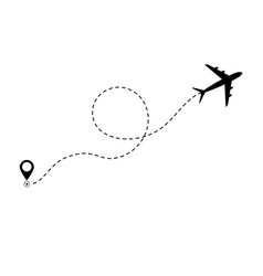 airplane line path icon air plane flight route vector image
