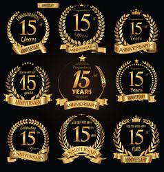 Anniversary golden retro laurel wreath vector