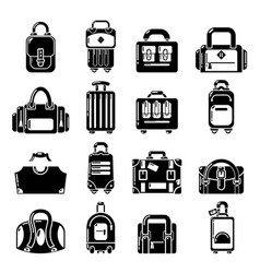 bag baggage suitcase icons set simple style vector image