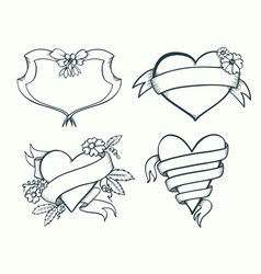 banners drawn set vector image