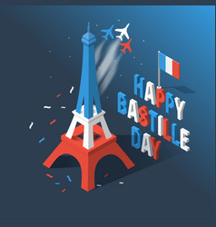bastille day independence day of france symbols vector image
