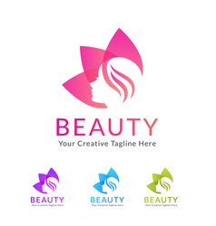 Beauty salon logo with flower vector