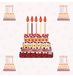 Birthday cake with five candles Five years vector image