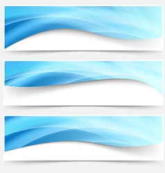 Blue light line headers footers collection vector image