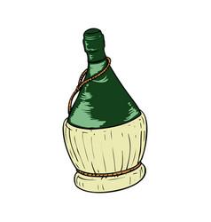 bottle wine in wicker basket on white vector image