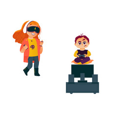 Boy playing video game kid using glasses vector