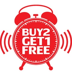 Buy 2 get 1 free red alarm clock vector