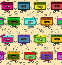 Cassette tapes seamless pattern vector image