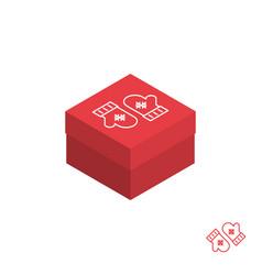 Christmas gift box isometric icon vector