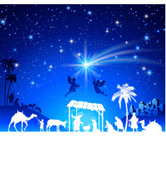 Christmas nativity scene with kings adoration vector