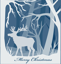 christmas paper card with deer in forest vector image