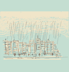 cityscape with rain hand drawn dark clouds in wet vector image