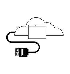 cloud computing folder data cable plug vector image