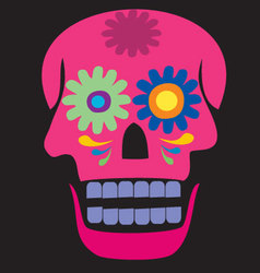 colored pink skull vector image