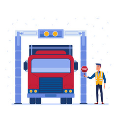 Customs truck cargo scanner vector