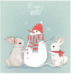cute hares with snowman vector image
