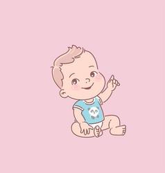 cute little baboy in diaper blue t-shirt vector image