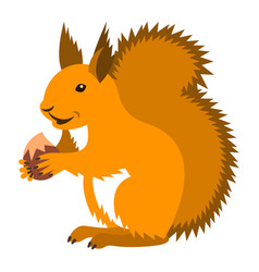 Cute smiling red squirrel with nut cartoon vector