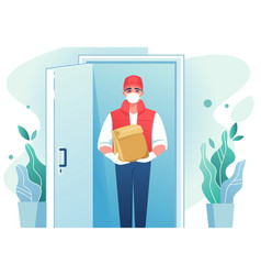 Delivery man cartoon courier with face mask at vector