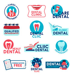 Dental clinic and dentistry medicine icons vector